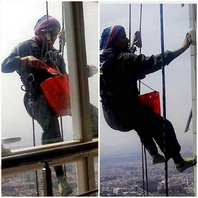 تینا دختر شیشهپاککن، بر فراز برجهای بلند تهران!